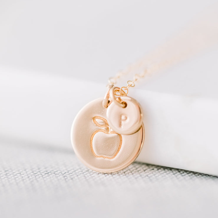 Apple + Initial Disc Necklace