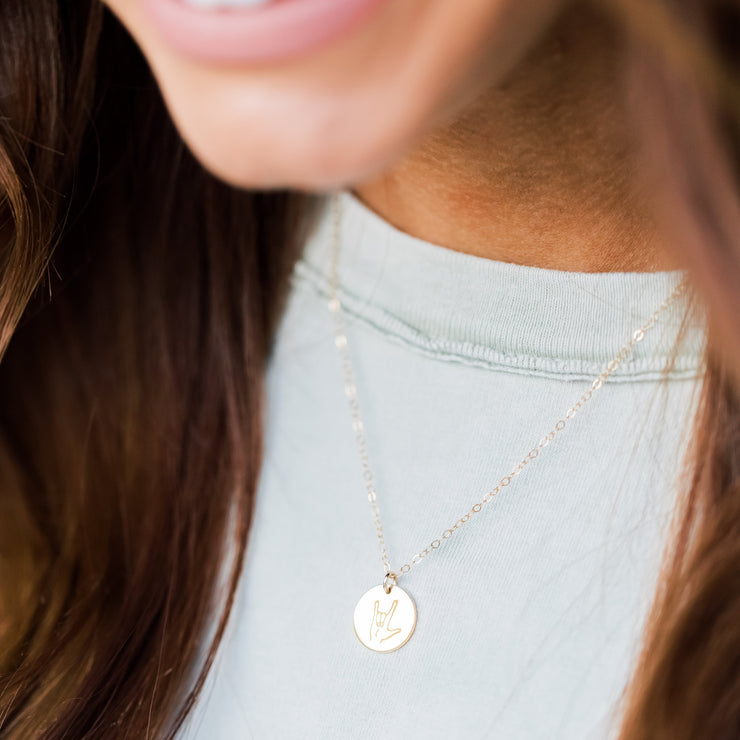 'I Love You' Disc Necklace