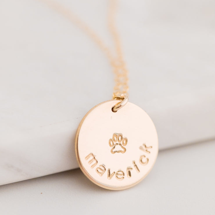 Paw Print Disc Necklace
