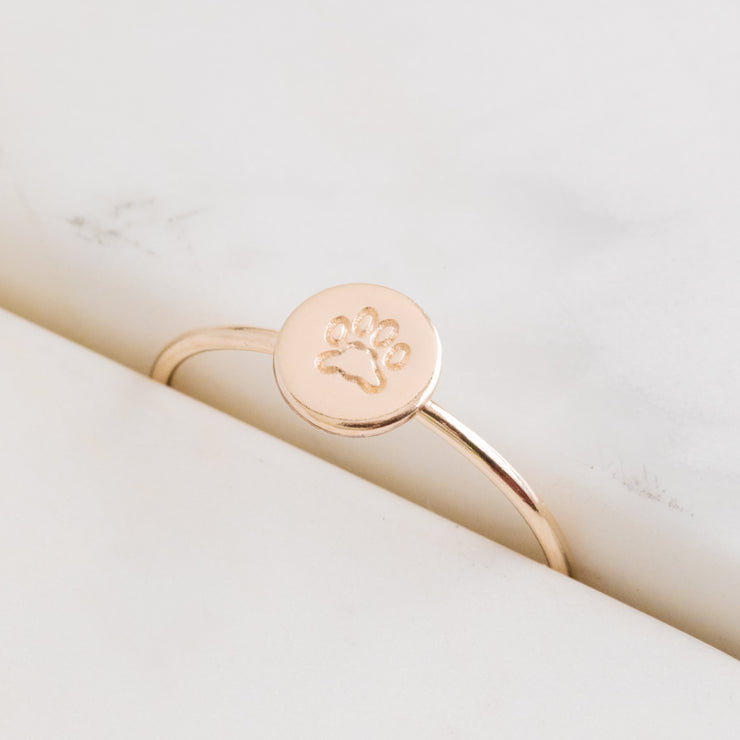 Paw Print Circle Stacking Ring