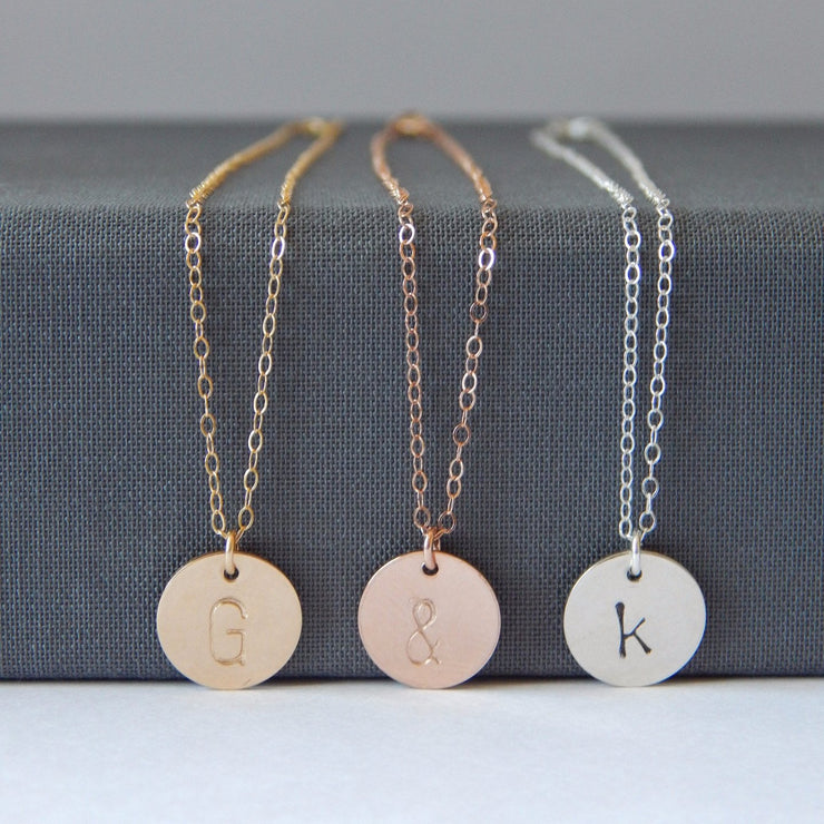 Medium Initial Disc Necklace - Barberry + Lace