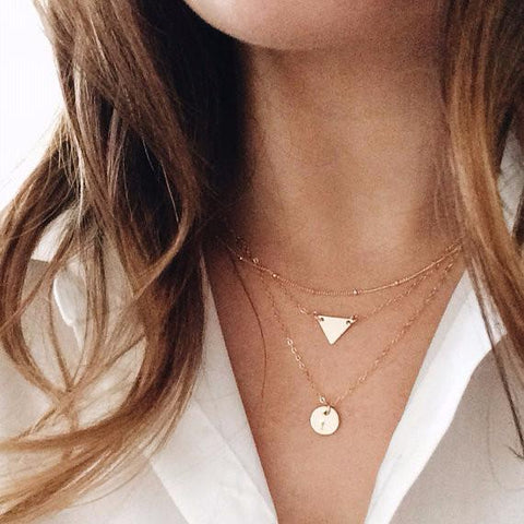 Initial Bar + Disc Layer Necklace Set
