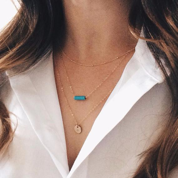 Turquoise + Disc Layer Necklace Set - Barberry + Lace