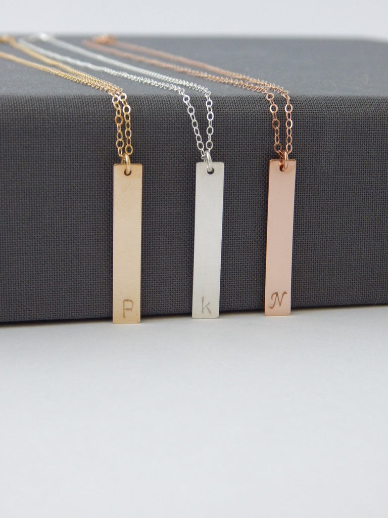 Initial Bar + Disc Layer Necklace Set - Barberry + Lace