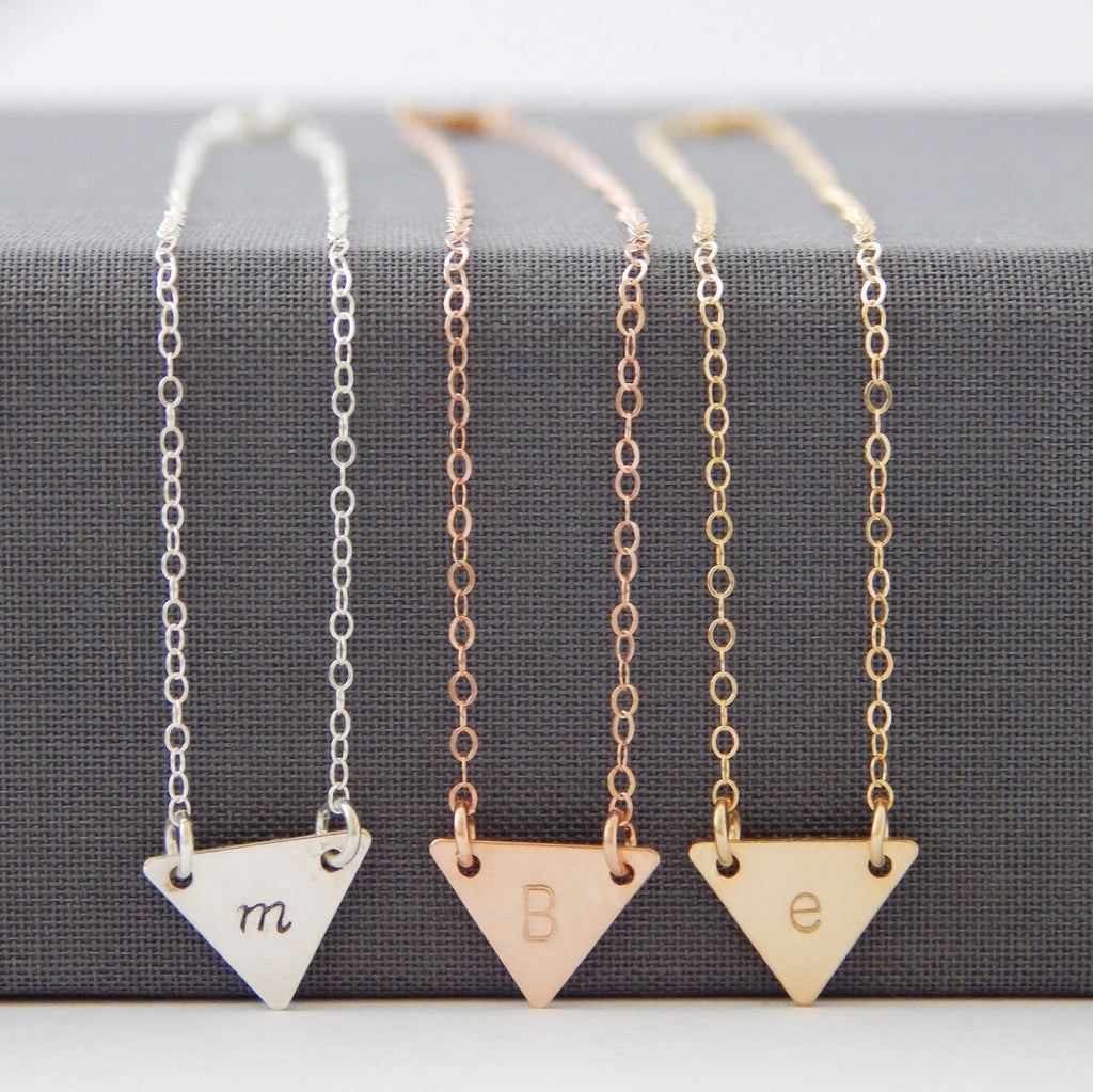 Personalized Triangle Necklace - Barberry + Lace