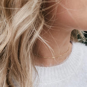 Dainty Bar Choker Necklace - Barberry + Lace