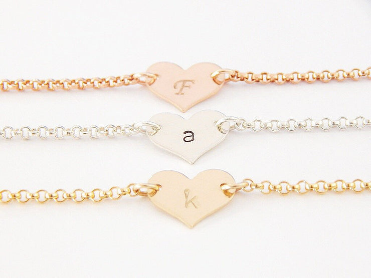 Personalized Heart Bracelet - Barberry + Lace