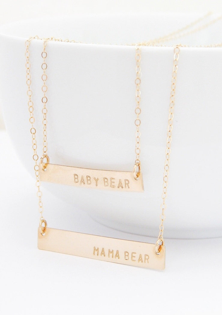 Personalized Bar Layering Necklace Set - Barberry + Lace