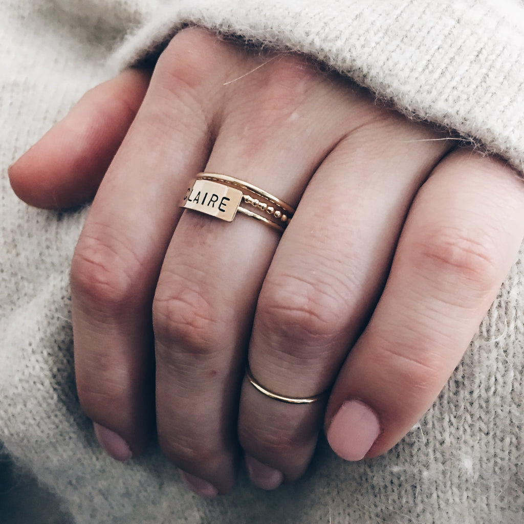 Personalized Bar Ring Stack - Barberry + Lace