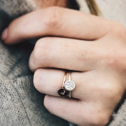 Personalized Circle Ring Stack - Barberry + Lace