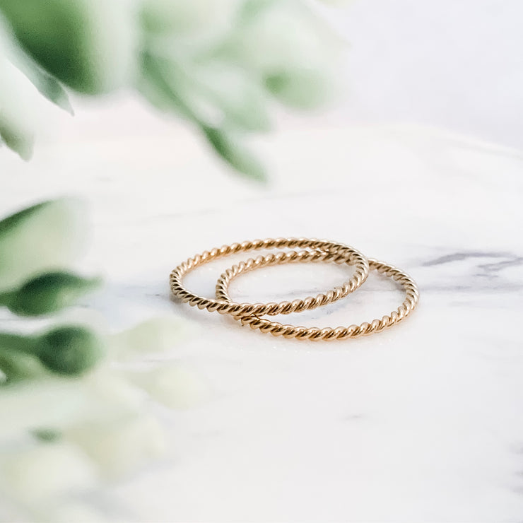 Twisted Stacking Ring - Barberry + Lace