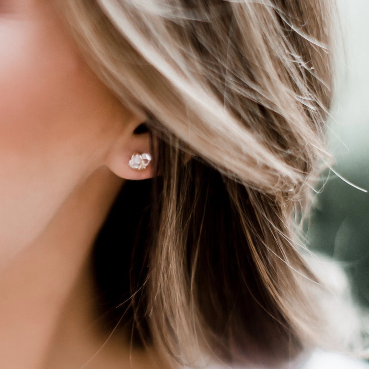 Herkimer Diamond Stud Earrings - Barberry + Lace