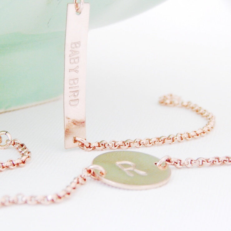 Personalized Disc Bracelet - Barberry + Lace