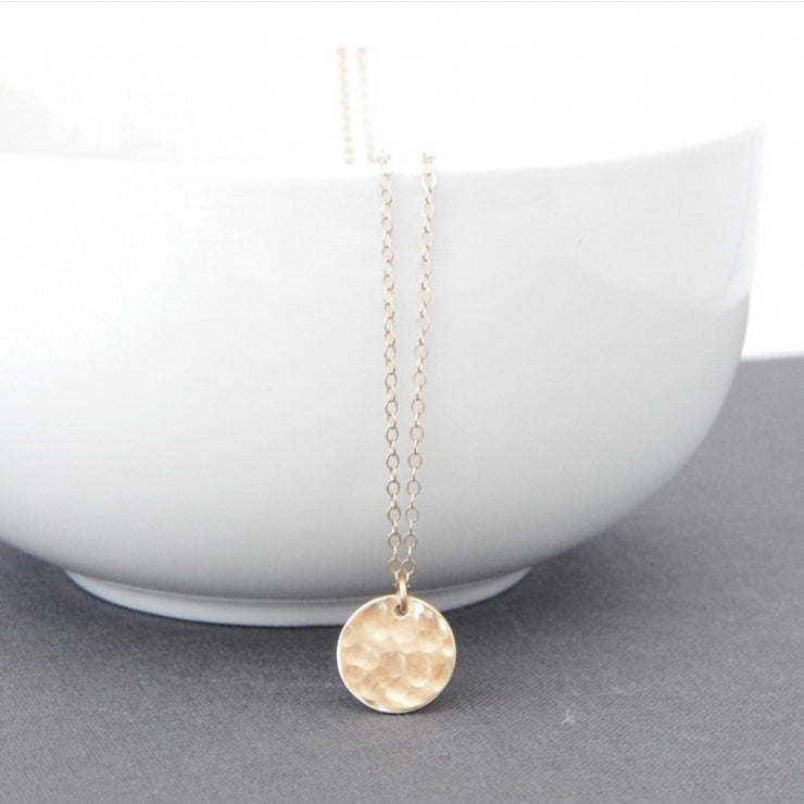 Hammered Disc Necklace - Barberry + Lace