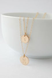 Personalized Disc Necklace Set - Barberry + Lace