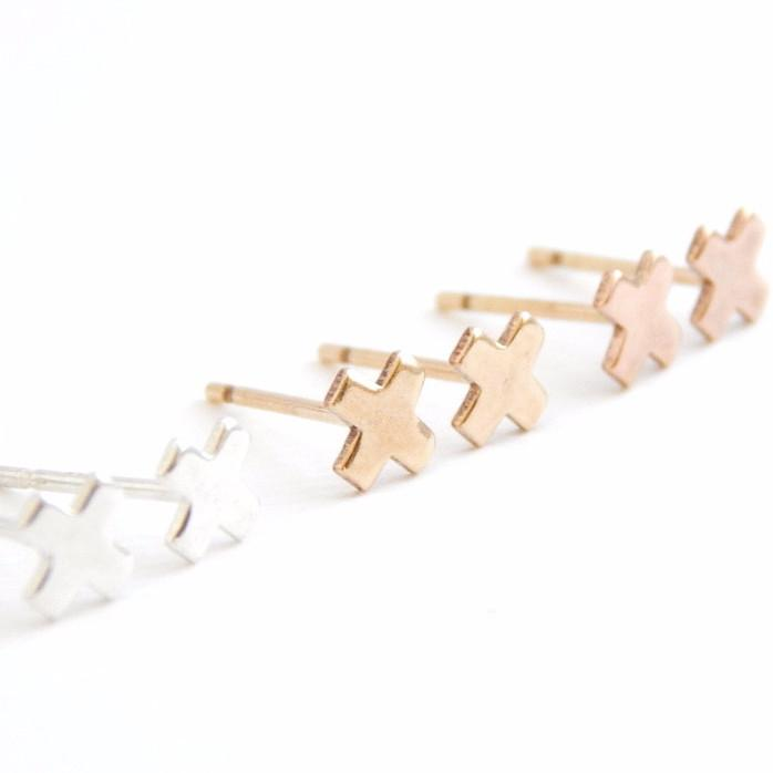 "Tiny ""x"" Stud Earrings - Barberry + Lace"