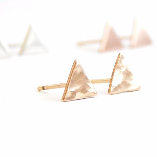 Triangle Stud Earrings - Barberry + Lace