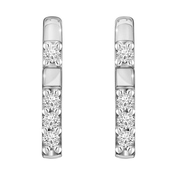 Merii Memento Collection : D-line earrings with Sterling silver and Rhodaim Plated