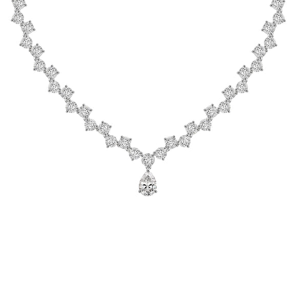 Merii Dewdrop : Elegant Dewdrop Necklace Sterling silver and Rhodium Plated