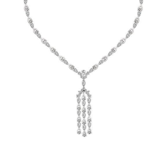 Merii Decorum : Art Deco Style Cubic Zirconia Long Chandelier Necklace Sterling silver and Rhodium Plated