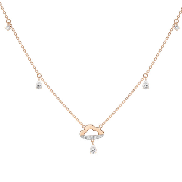 Merii Memento Collection : cloud drop Necklace cubic zirconia Sterling silver and Rose gold Plated