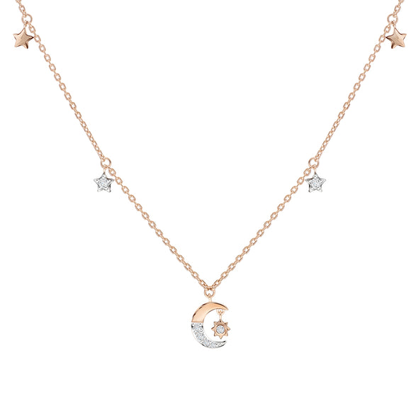 Merii Memento Collection : moon & star Necklace cubic zirconia Sterling silver and Rose gold Plated