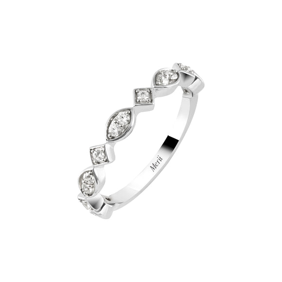 Merii Stackable : Classic D-line Ring Sterling Silver with Cubic Zirconia