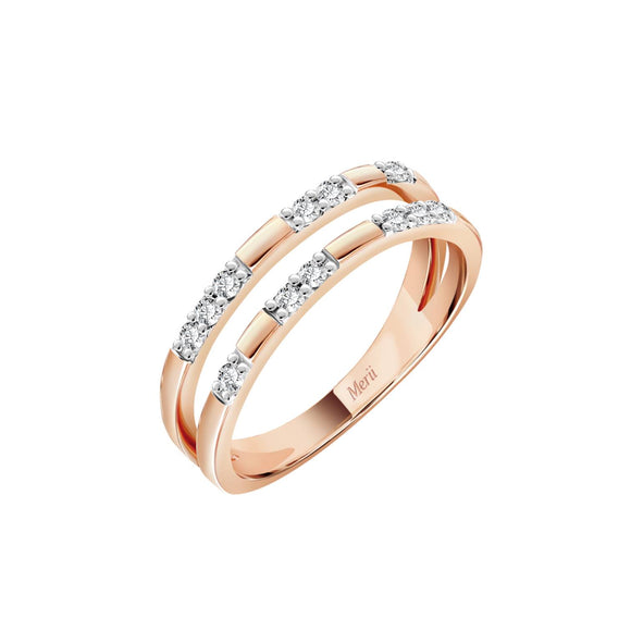 Merii Memento Collection : Minimal ring two line cubic zirconia Sterling silver and Rose gold Plated