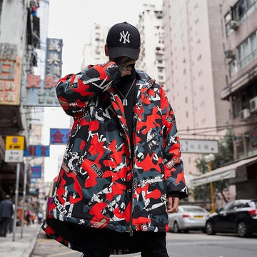 Camouflage printed long cotton jacket