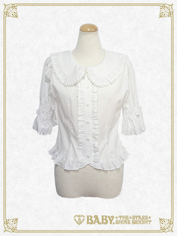 Frill five-quarter sleeve blouse