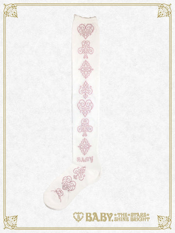 Arabesque card suit overknee socks