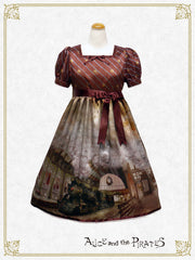 The Wizarding platform~Steam engine and the illusion of the foggy town~one piece dress
