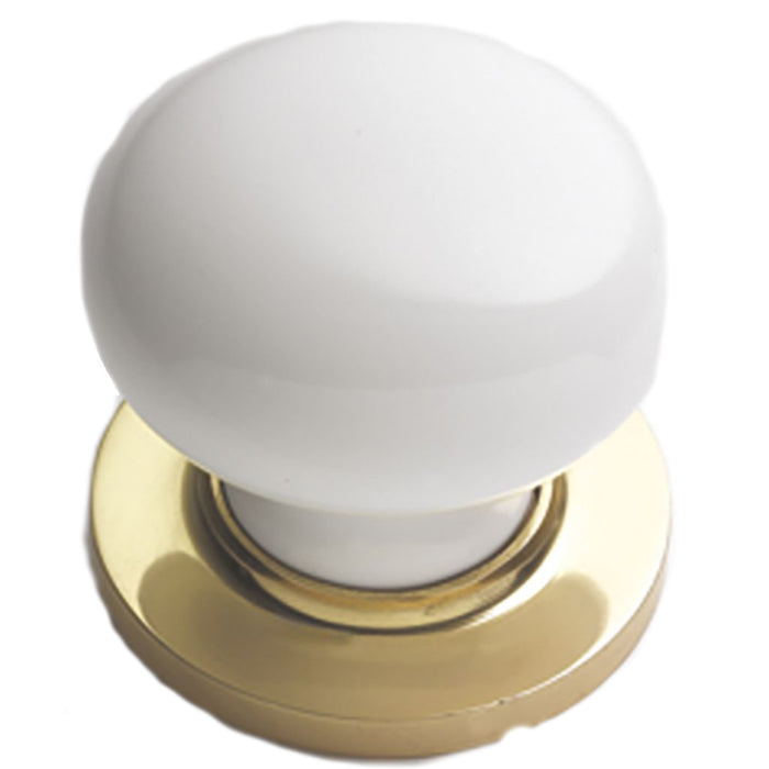 "Porcelain Mortice Knob Brass Rose 2.3/8"" Knob 2.1/4"""