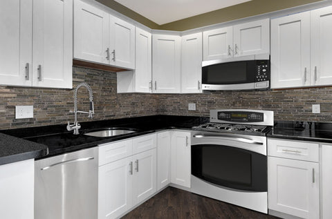 Solid wood kitchen cabinets - White