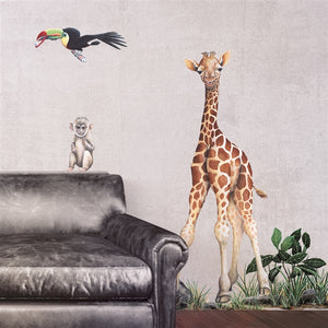 Toothy Giraffe Wall Decal 21 in. x 46 in.