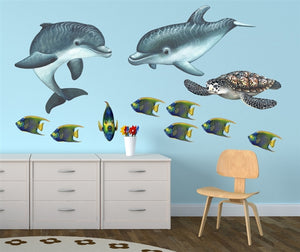 Playful Baby Dolphins Wall Decal (35 in. x 20 in.)