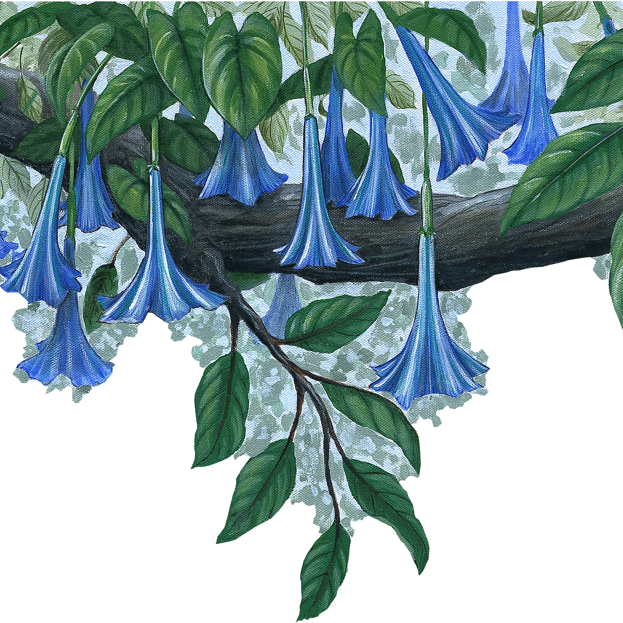 Blue Flower Vine Border Wall Decal (45 in. x 14 in.)