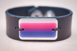bisexual pride leather cuff bracelet