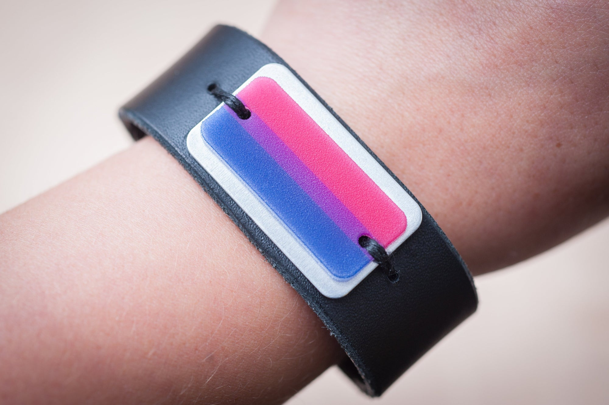 bisexual pride flag leather cuff