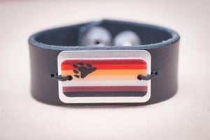 bear pride flag leather cuff