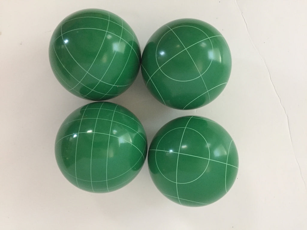 Pack of 4  - 107mm Bocce Balls  - Green with 2 different scoring patterns