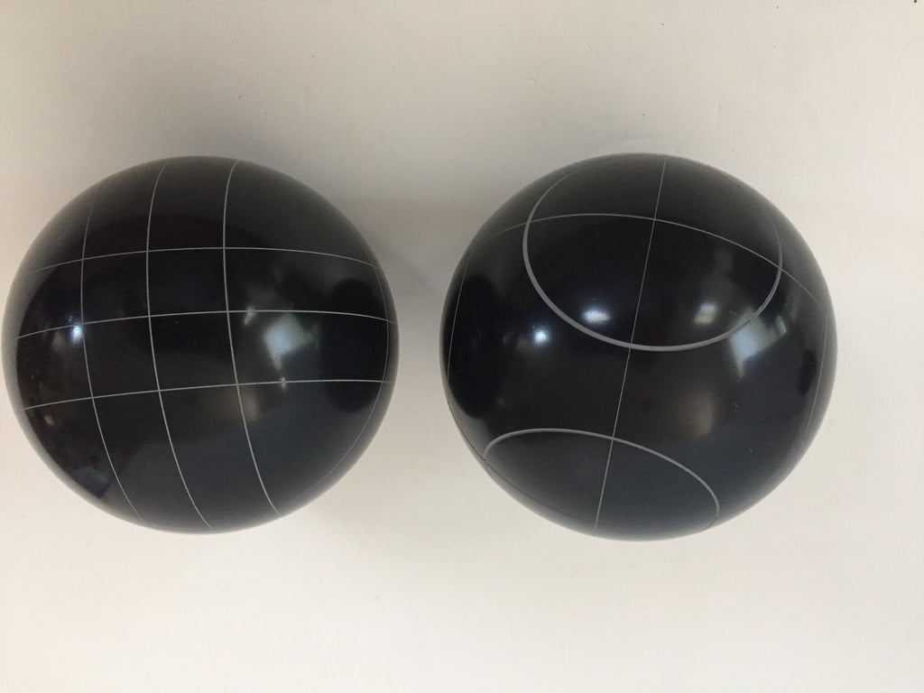 Pack of 2 - Replacement Bocce Balls - 107mm - Black with 2 different scoring patterns
