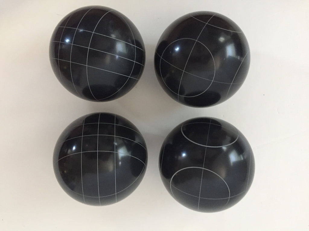 Pack of 4  - 107mm Bocce Balls  - Black with 2 different scoring patterns