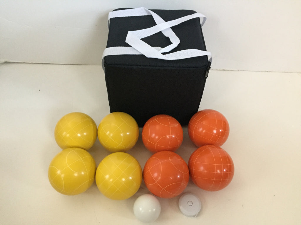 New Listing - (14 of 28) Unique Bocce Sets - 107mm with Orange and Yellow balls, black bag