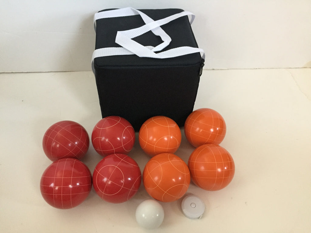 New Listing - (8 of 28) Unique Bocce Sets - 107mm with Orange and Red balls, black bag