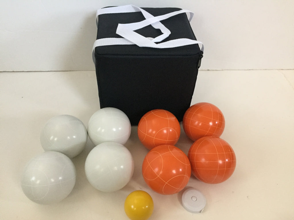 New Listing - (16 of 28) Unique Bocce Sets - 107mm with Orange and White balls, black bag
