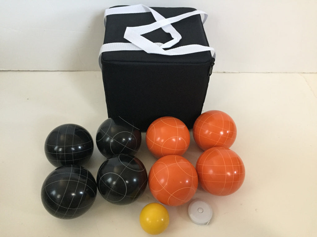 New Listing - (18 of 28) Unique Bocce Sets - 107mm with Orange and Black balls, black bag