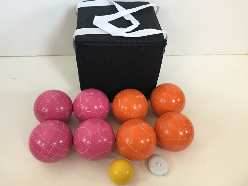 New Listing - (17 of 28) Unique Bocce Sets - 107mm with Orange and Pink balls, black bag
