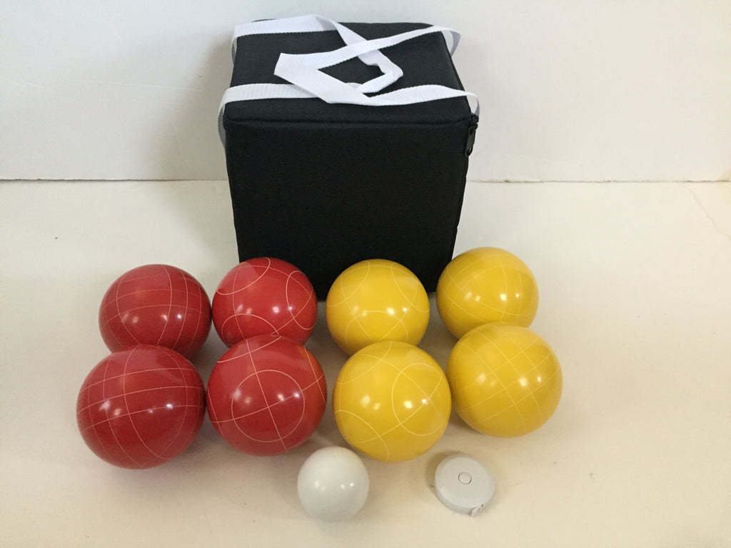 New Listing - (9 of 28) Unique Bocce Sets - 107mm with Yellow and Red balls, black bag