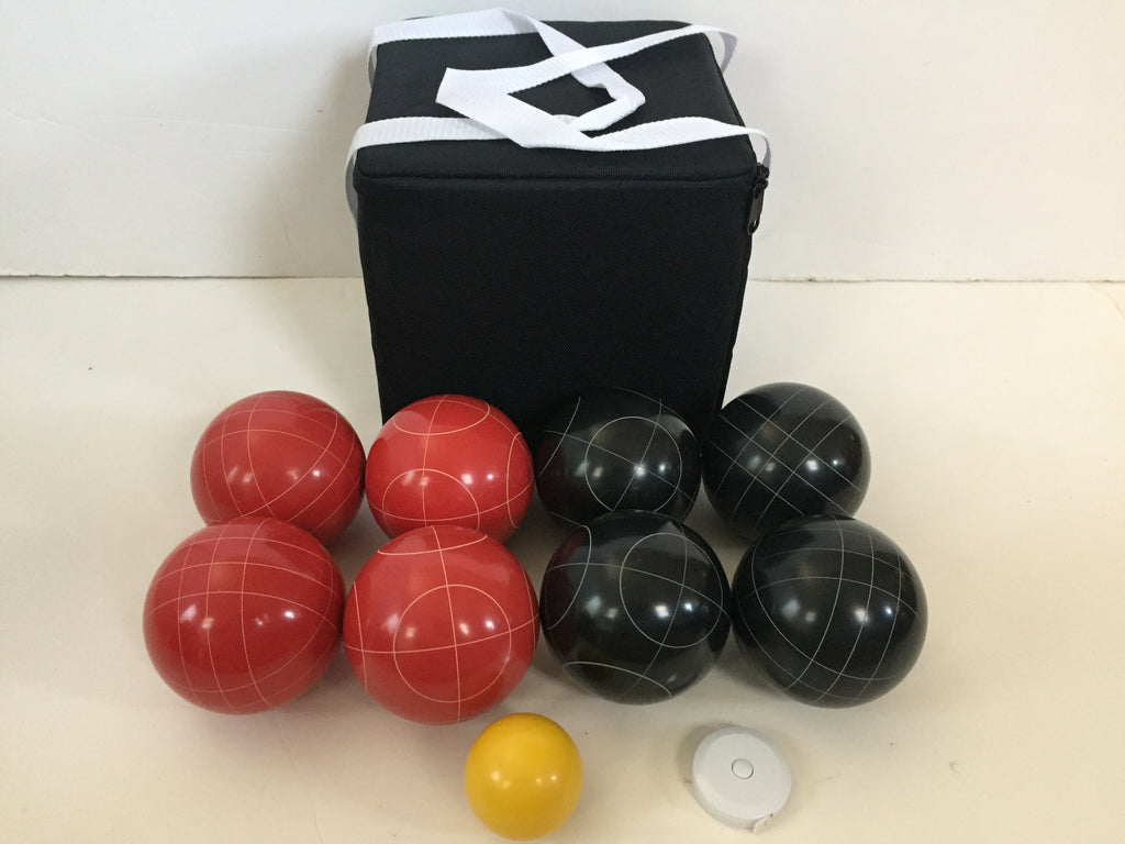 New Listing - (13 of 28) Unique Bocce Sets - 107mm with Black and Red balls, black bag